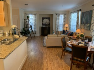 1 Bedroom Apartments for rent in Southwest Houston, TX - Model Dining Room, Living Room and Kitchen Breakfast Bar and Sink